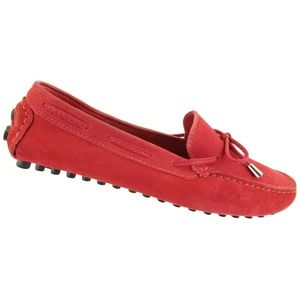 Mercanti Fiorentini Red Suede Leather Driving Loaf